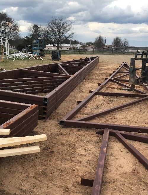 Beginning construction of arena by Covered Arena (TM) and Dressage Arenas