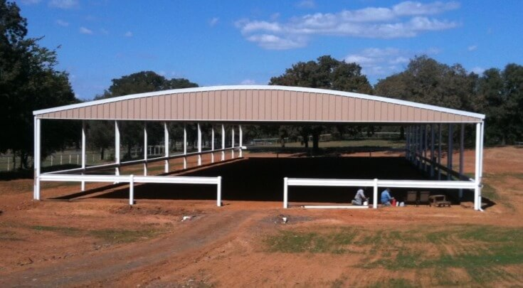 Beige and white arena by Covered Arena (TM) and Dressage Arenas
