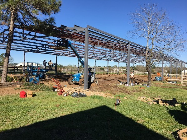 Arena construction underway by Covered Arena (TM) and Dressage Arenas